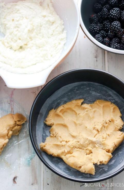 Blackberry Ricotta Sbriciolata-dough in the pan