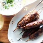 Grilled Beef Kafta with Tzatziki sauce-closeup