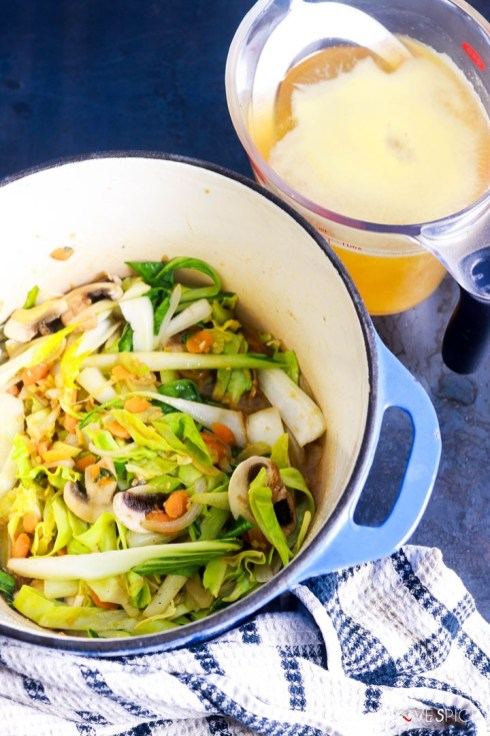 Asian inspired brown rice vermicelli noodle soup-vegetables in the pot broth in the background
