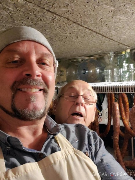 Italian-style sausage and peppers-zio Giovanni and me-hanging sausages