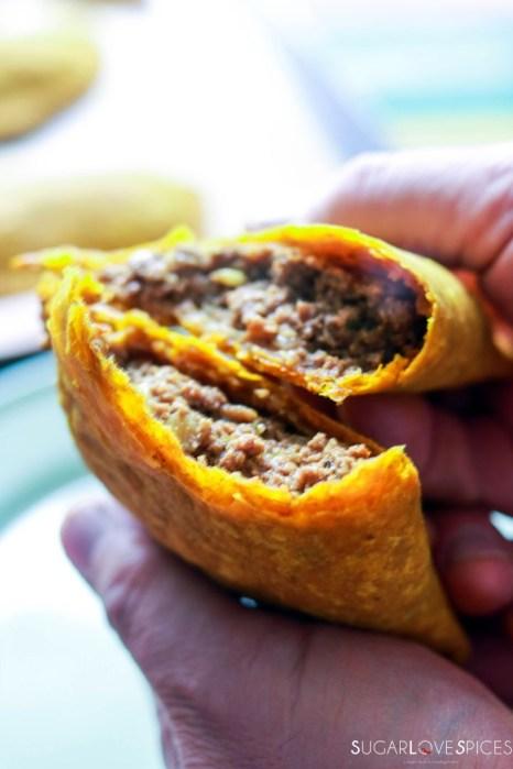 Jamaican Beef Patties-Loreto showing filling