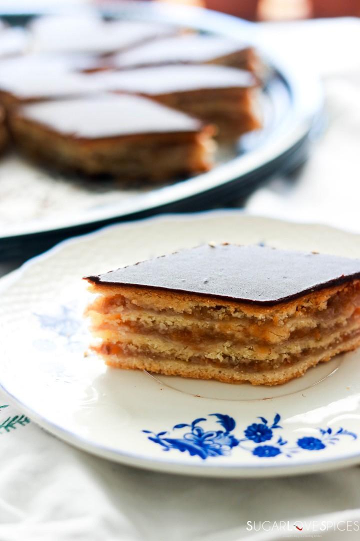 Hungarian Gerbeaud cake-piece of cake on a plate
