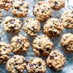 Loaded oatmeal spelt cookies-cookies on a rack