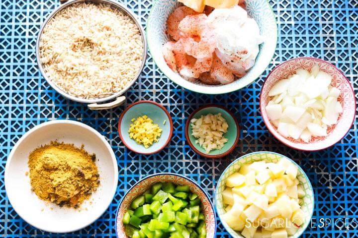 Shrimp Biryani-mise en place