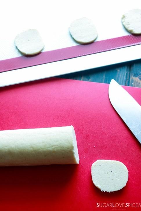 Slice and bake lemon crips-cutting the log