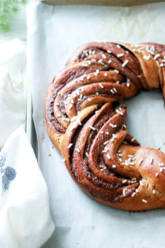 Chocolate Hazelnut Spelt Brioche Wreath-out of the oven