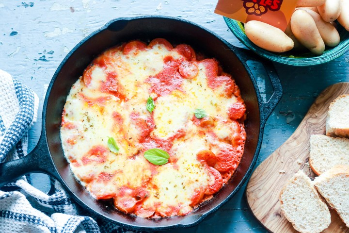 Delicious-Skillet-Fingerling-Potato-Parmigiana-feature-in-the-skillet