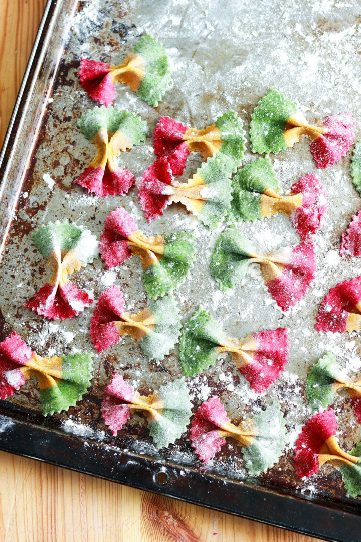 How to Make Tricolor Farfalle Pasta-putting farfalle on a floured sheet