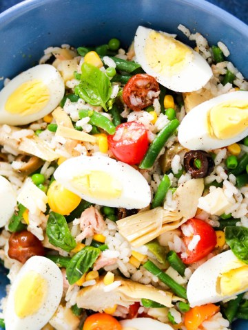 Tasty and Easy Italian Insalata di riso with tuna-feature-bowl view from the top