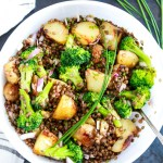 Warm-Roasted-Potato-and-Broccoli-Salad-with-Green-Lentils-feature-in-the-paltter-with-chives-on-top