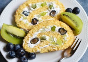 Kiwi and Blueberry Swiss roll
