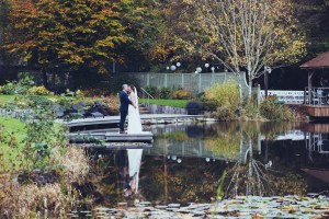 reflection, lakeside, couples portraits, bride and groom