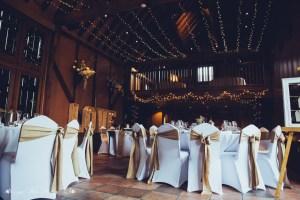 wedding breakfast, barn, the hundred house, fairy lights
