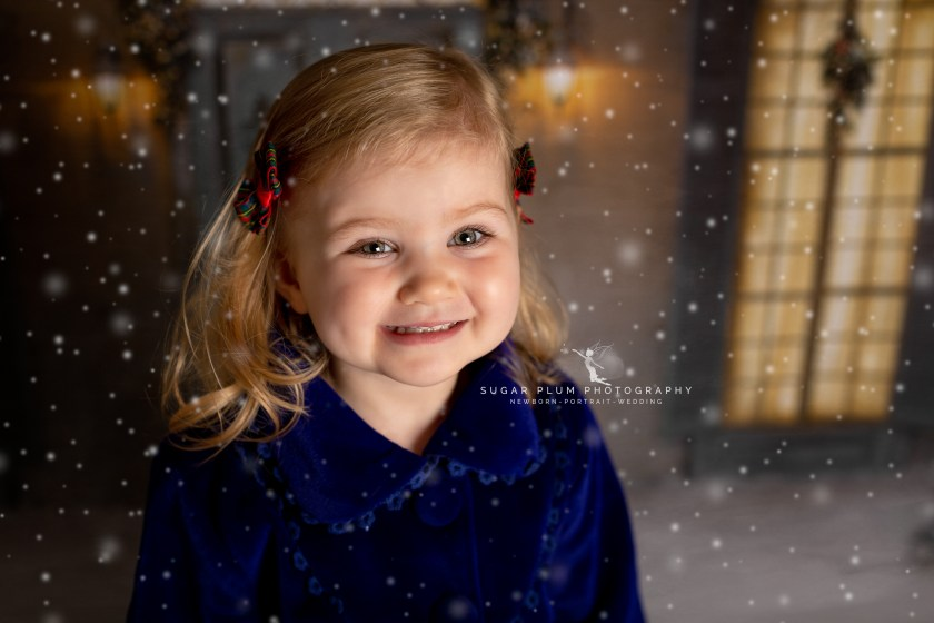 snowy scene christmas mini session