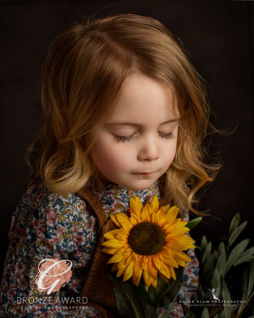 portrait photography child girl sunflower fine art portrait