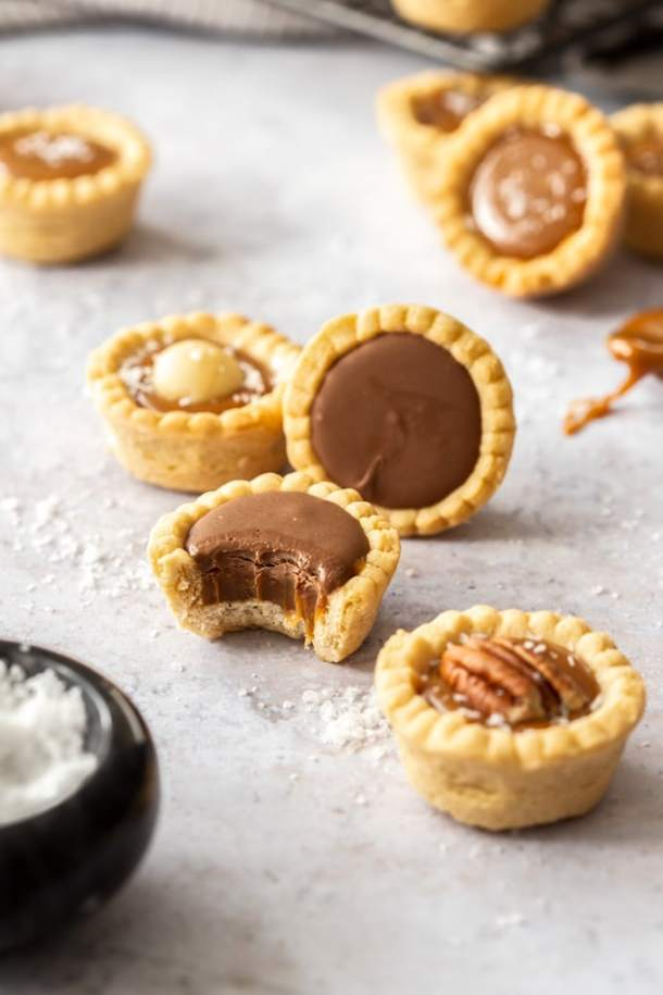 Nutty Caramel Cups - Cookie cups filled with caramel and macadamia nuts