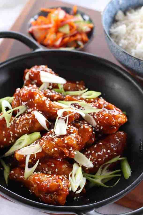 Affectionately known as KFC, Korean Fried Chicken Wings are chicken wings fried until crispy, then slathered in a thick,sweet andspicy sauce.