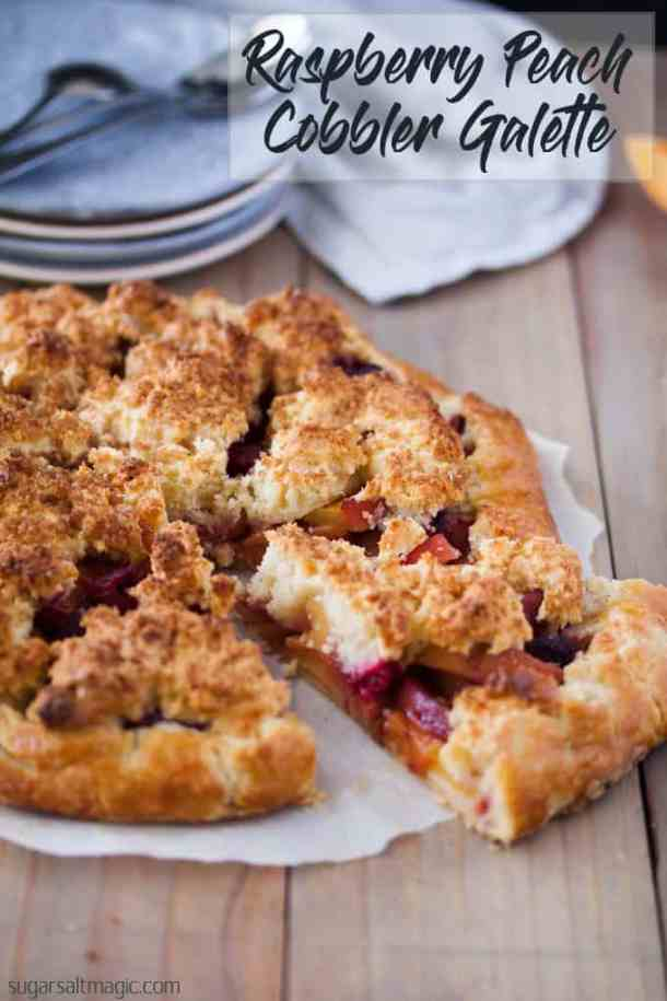 This Raspberry Peach Gallette with Cobbler Topping is a free form tart with an easy peach cobbler filling #peachcobbler #peachgalette #peachrecipes #summerfood #summerrecipes