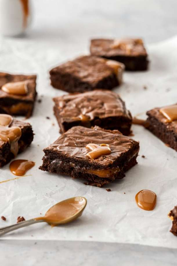 Caramel Crown Chocolate Brownies by Sugar Salt Magic. Dense fudgy Chocolate Brownies with a hit of caramel