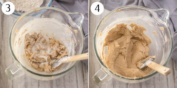 Showing mixing together the batter for cinnamon cupcakes