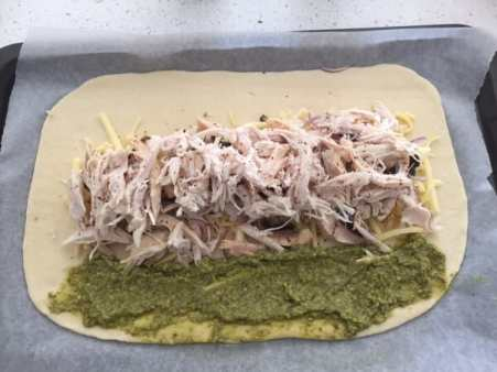 Pesto Chicken Calzone by Sugar Salt Magic. A few simple ingredients and some good pizza dough are all you need