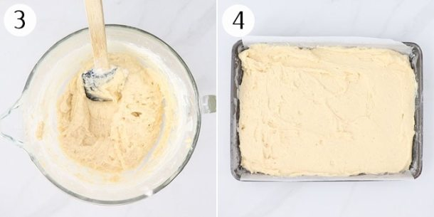 Cake batter spread into a 9x13 inch baking tin