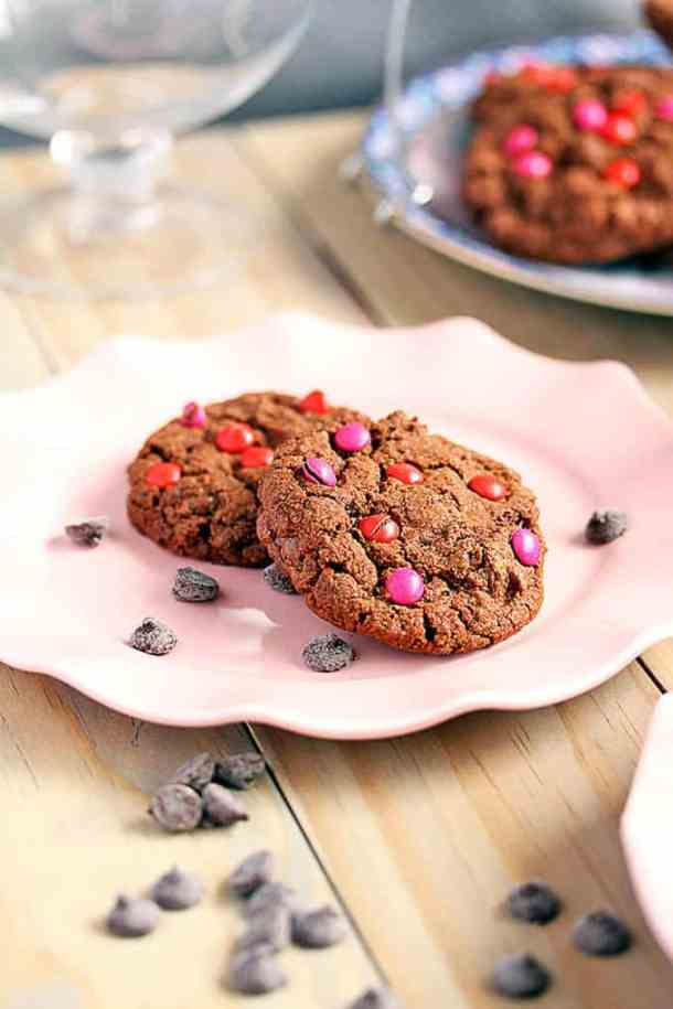 Easy recipe for Double Choc Chip Cookies by Sugar Salt Magic. Double choc chip equals double the pleasure and perfect for Valentines Day