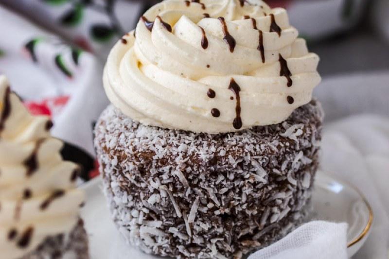 Lamington Cupcakes with Whipped Vanilla Buttercream by Sugar Salt Magic