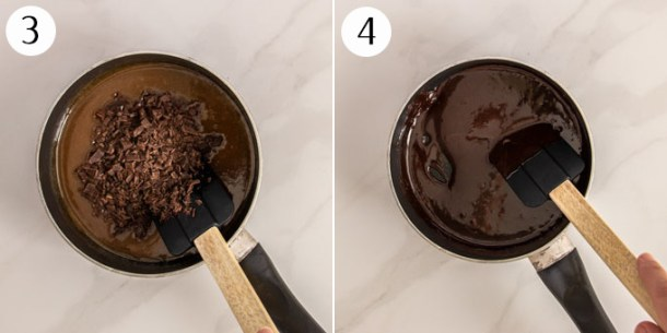A collage showing how to make chocolate fudge sauce