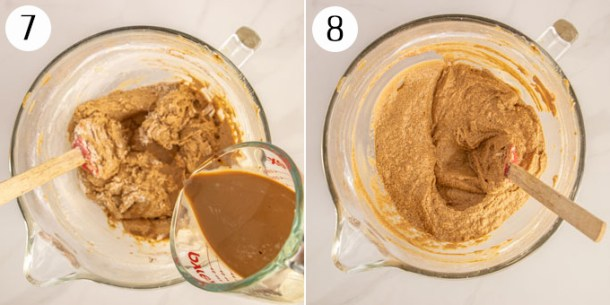 A collage showing making cake batter, adding milk & coffee.