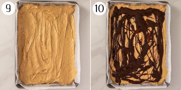 A collage showing layering a crumb cake in a baking tin.
