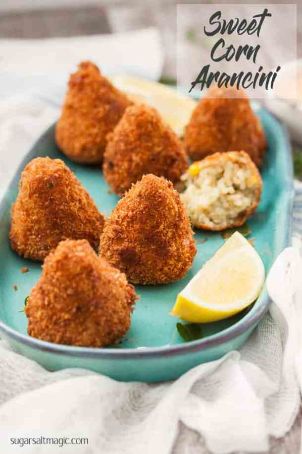 These Sweet Corn Arancini are little handfuls of risotto, that are then coated in breadcrumbs and deep fried to golden perfection. Completely vegetarian too!