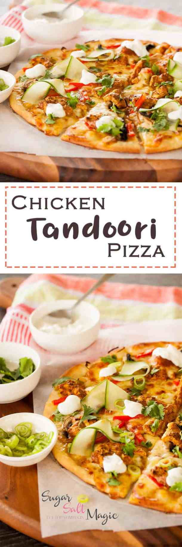 Tandoori Chicken Pizza by Sugar Salt Magic. Juicy chunks of Tandoori Chicken and a homemade crust combine to make this amazing pizza.