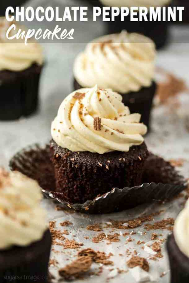 Chocolate Mint Cupcakes are a delectable combination of light and fluffy chocolate cupcakes, peppermint chocolate ganache and peppermint buttercream. This is a must make treat. #sugarsaltmagic #chocolatecupcakes #mintcupcakes #chocolatecupcakerecipe #chocolatemintcupcakes #peppermintcupcakes #chocolatepeppermint #cupcakerecipe #christmasdesserts #christmascupcakes #bestcupcakerecipe #cupcakerecipe #cupcakes