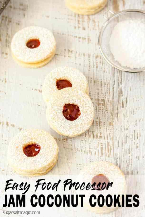 Jam and Coconut Cookies are easy to make right in the food processor. Quick easy and totally delicious