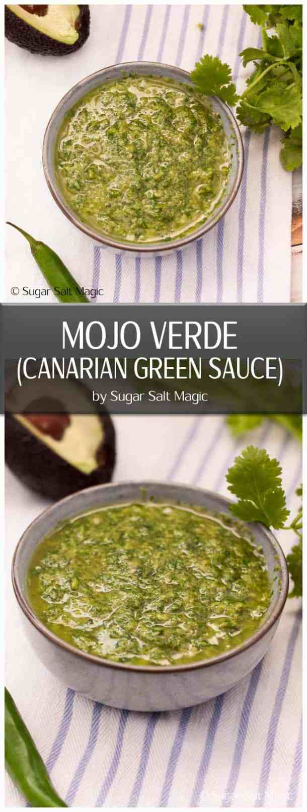 Mojo Verde is a punchy, herb sauce perfect for fish, meat and potatoes.  #herbsauce #mojoverde