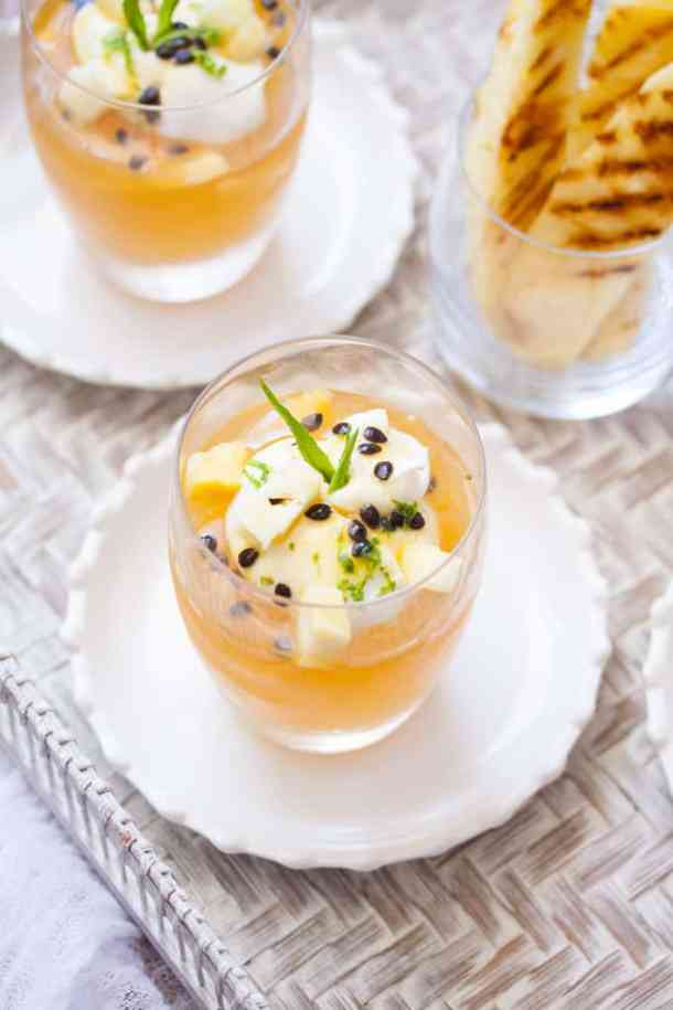 Tropical Fruit Juice Jelly with Coconut Mascarpone - An easy dessert. Sweet and refreshing and quick to make. #fruitjuicejelly #homemadejelly