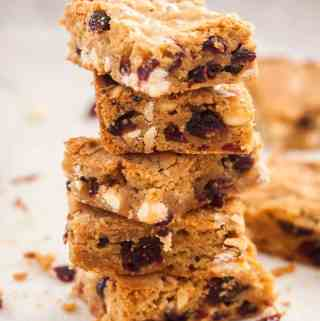 Cranberry White Chocolate Blondies - rich, chewy and loaded with cranberries and white chocolate chips.