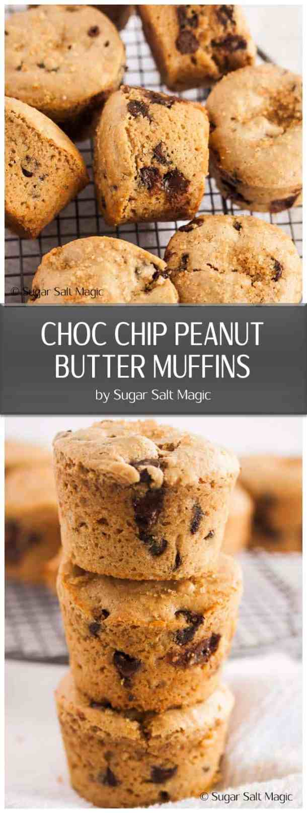 Making muffins from scratch is so easy and these Choc Chip Peanut Butter Muffins have stacks of flavour too. #peanutbutter #chocchipmuffins