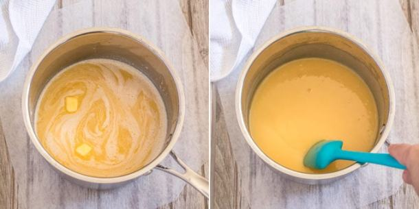 The process of making pineapple curd - adding the butter