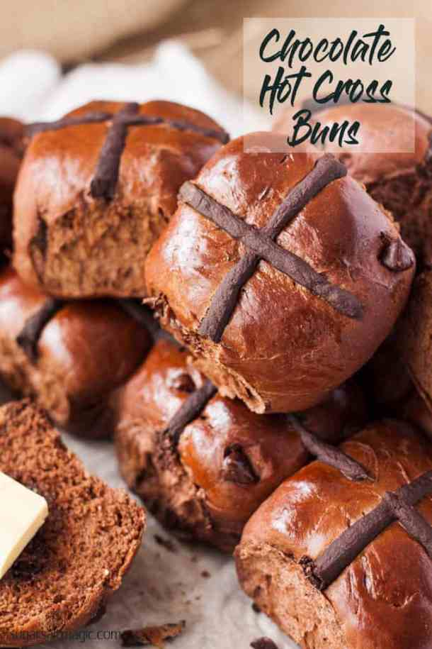 Making hot cross buns is incredibly easy with this Chocolate Hot Cross Buns recipe. Filled with chocolate chips plus cocoa in the dough, your family will be coming back for more. #hotcrossbuns #chocolatehotcrossbuns #easter #easterbuns