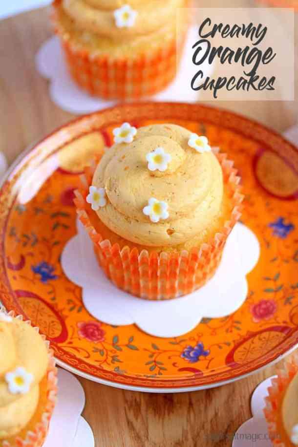 Vibrant Orange Cupcakes with a dreamy, creamy orange frosting.