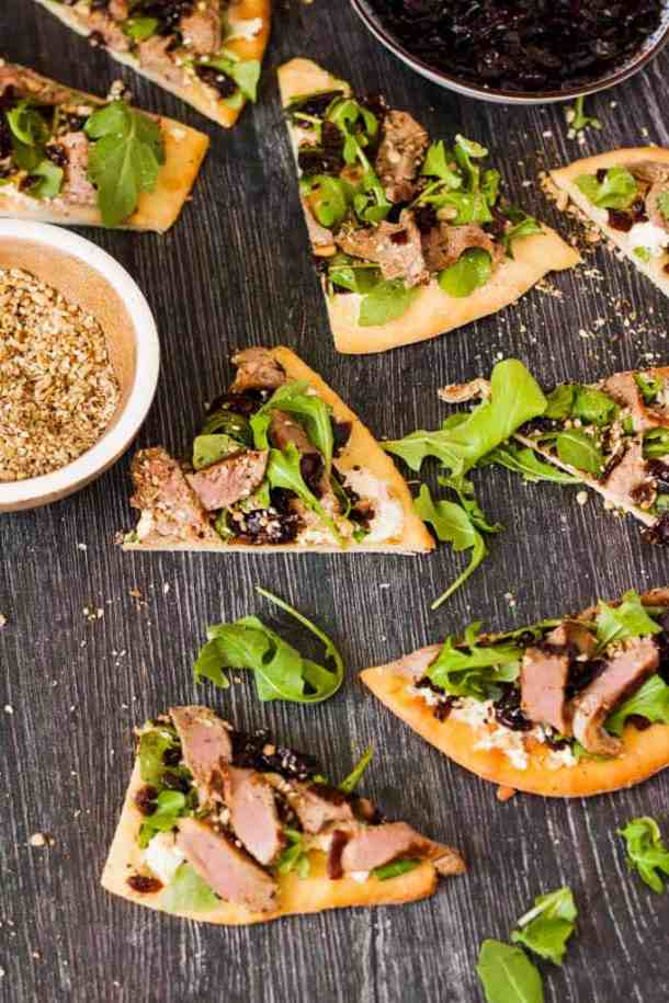 This Lamb Flatbread loaded with Caramelised Onion Relish, Homemade Dukkah, feta and rocket makes an easy and amazing lunch or dinner.