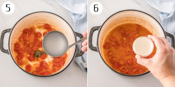 Adding water and cream to a sauteed tomatoes