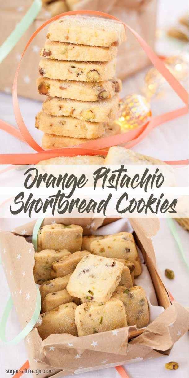 These Orange Pistachio Shortbread Cookies are super buttery and filled with crunchy pistachios and the fresh hit of orange. #shortbread #christmascookies