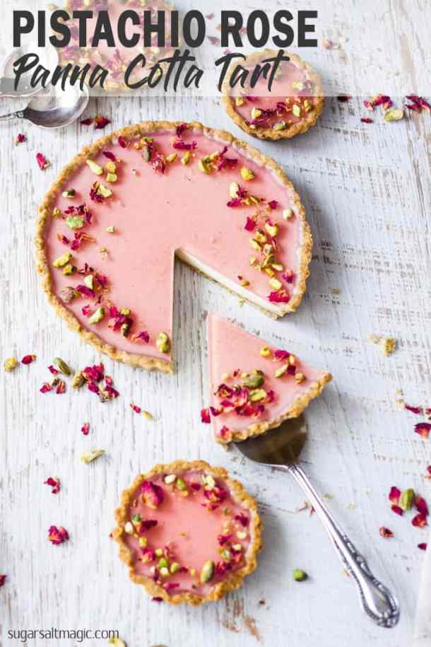 Pistachio Rose Panna Cotta Tart, with it's pistachio tart crust, rose panna cotta filling and rose jelly topping is a beautiful tart just perfect for a special occasion. #sugarsaltmagic #pannacotta #pistachiocrust #turkishdelight #rosetart #pannacottatart #beautifuldesserts #elegantdesserts