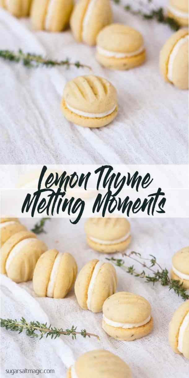 Thyme and Lemon Melting Moments Biscuits use the fabulous combo of lemon and fresh thyme in a buttery shortbread. Total melt in your mouth cookies. #meltingmoments #shortbread #lemonthyme