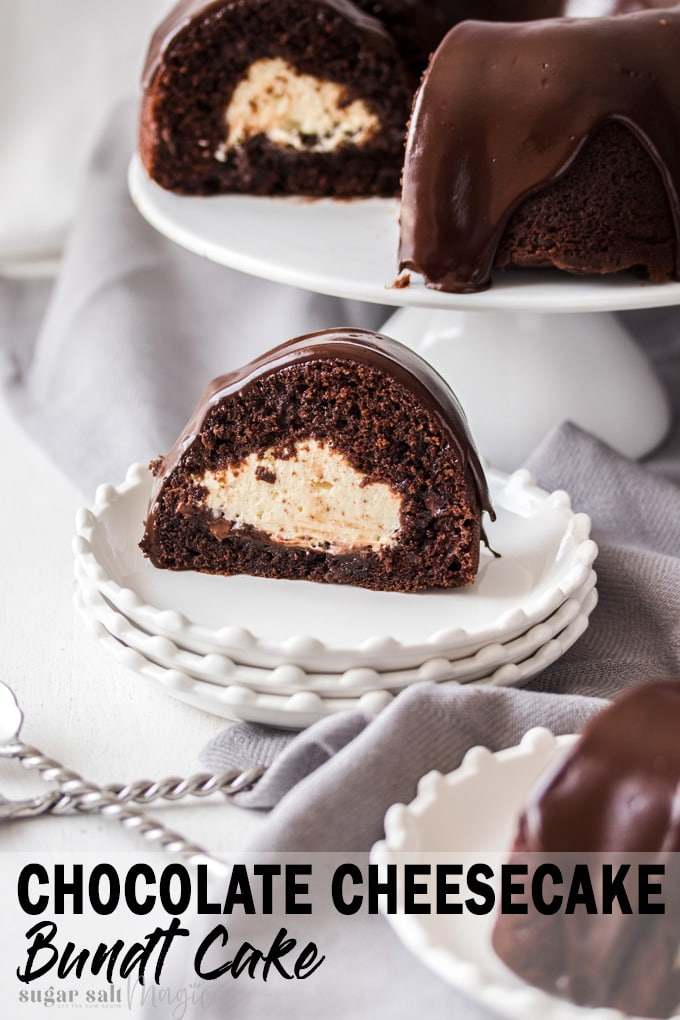 Chocolate Chip Bundt Cake with Cheesecake Filling is an easy chocolate bundt cake, filled with a gorgeous cheesecake filling and finished off with glorious dark chocolate ganache. #sugarsaltmagic #chocolatecake #chocolatebundtcake #bundtcake