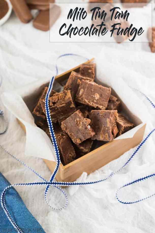 This Milo Tim Tam Chocolate Fudge recipe is the easiest chocolate fudge recipe filled with tim tams and milo. Aussie food at it's best. #chocolatefudge #easyfudge #fudgerecipes #bestfudge #condensedmilkfudge