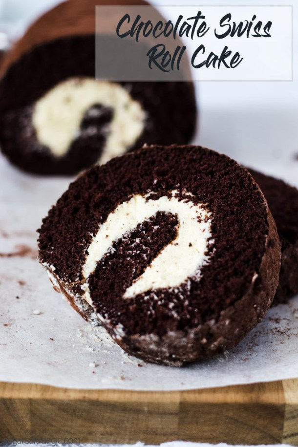 A light ChocolateRoll Cake filled with a whipped vanilla buttercream frosting is just the perfect afternoon tea treat or dessert. Get my tips on how to make the perfect roll cake. #sugarsaltmagic #swissroll #spongeroll #chocolatecake #chocolaterecipes #chocolatedesserts #cakeroll #rollcake #swissrollcake